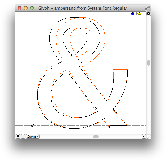 Redesigned ampersand of the new Lucida Grande, old version in red